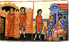 An illustration depicting the marriage and the life in Byzantine family